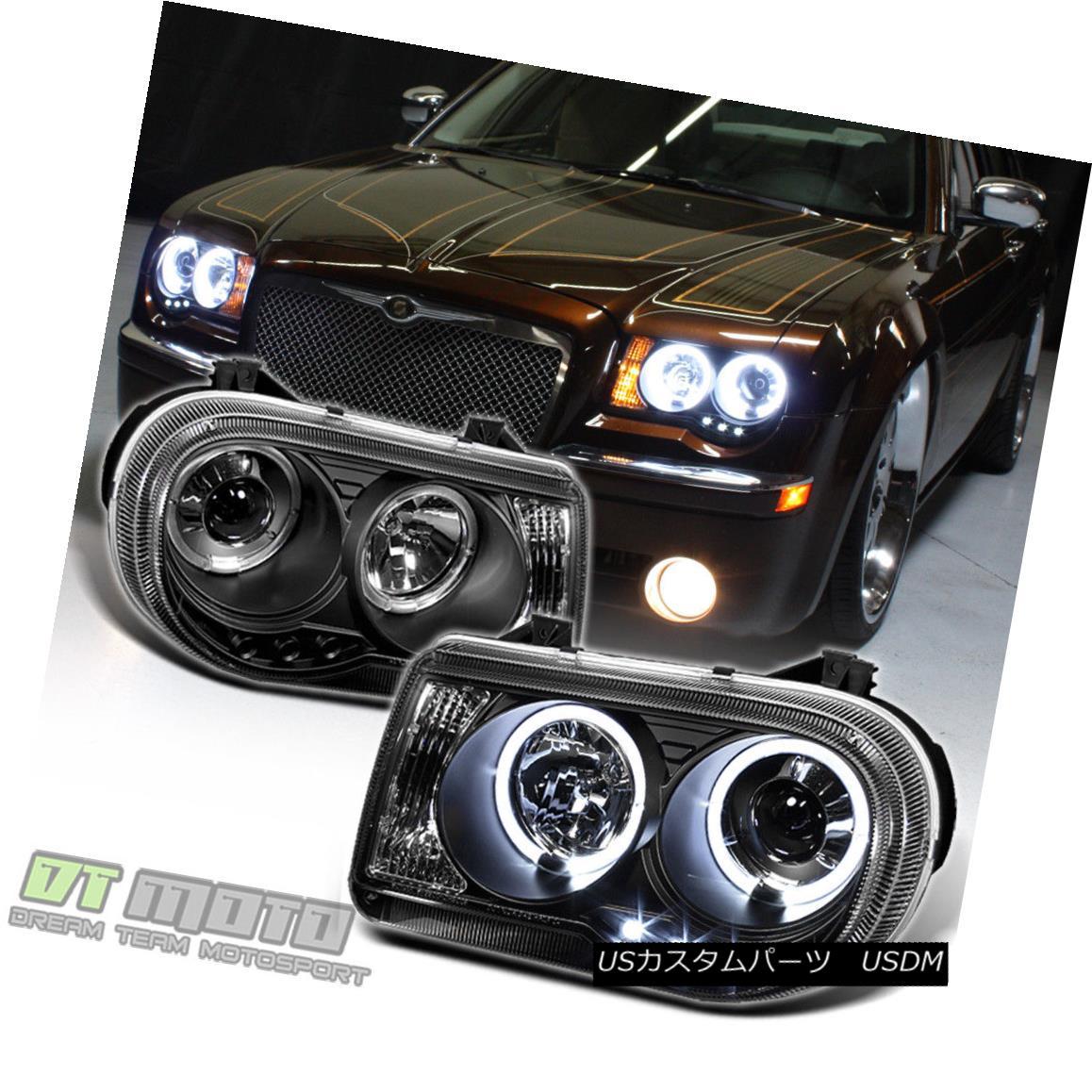 ヘッドライト Black 2005-2010 Chrysler 300C LED DRL Halo Projector Headlights 05-10 Left+Right ブラック2005-2010クライスラー300C LED DRLハロープロジェクターヘッドライト05-10左+右
