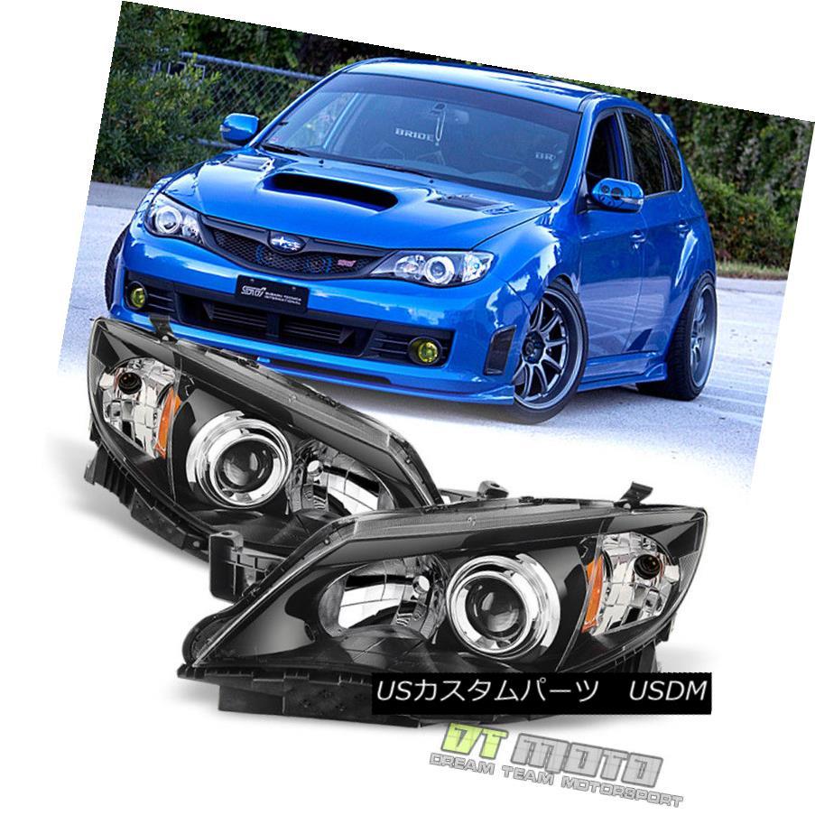 ヘッドライト Black 2008-2011 Subaru Impreza WRX STi Outback Sport JDM Headlights Replacement ブラック2008-2011スバルインプレッサWRX STiアウトバックスポーツJDMヘッドライト交換