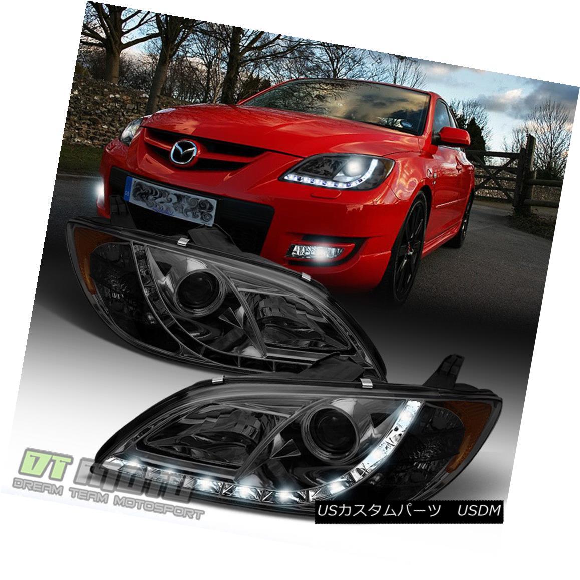 ヘッドライト Smoke 2004-2008 Mazda 3 4Dr Sedan LED Daytimr Running Light Projector Headlights スモーク2004-2008マツダ3 4DrセダンLEDデイタイムランニングライトプロジェクターヘッドライト