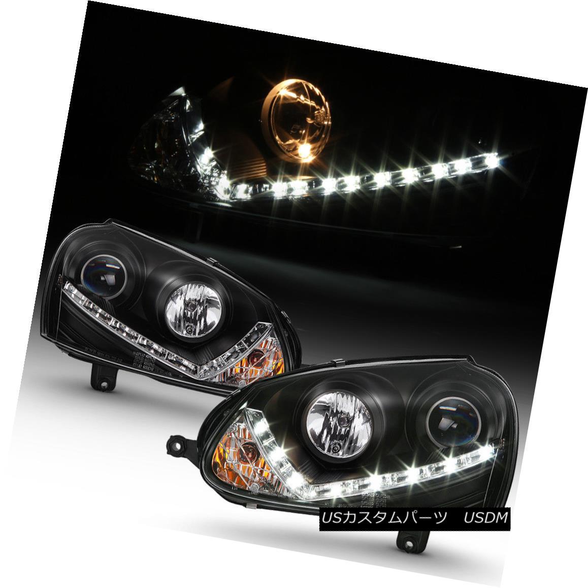 ヘッドライト 2006-2009 VW GTI Jetta Rabbit Projector Headlights w/LED Daytime Running Lamps 2006?2009年VW GTIジェッタラビットプロジェクターヘッドライト(LEDデイタイムランニングランプ付)