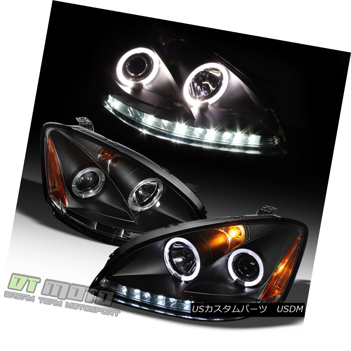 ヘッドライト Black For 2002-2004 Altima LED DRL Halo Projector Headlights 02 03 04 Headlamps ブラックは2002-2004年にAltima LED DRL Haloプロジェクターヘッドライト02 03 04ヘッドランプ