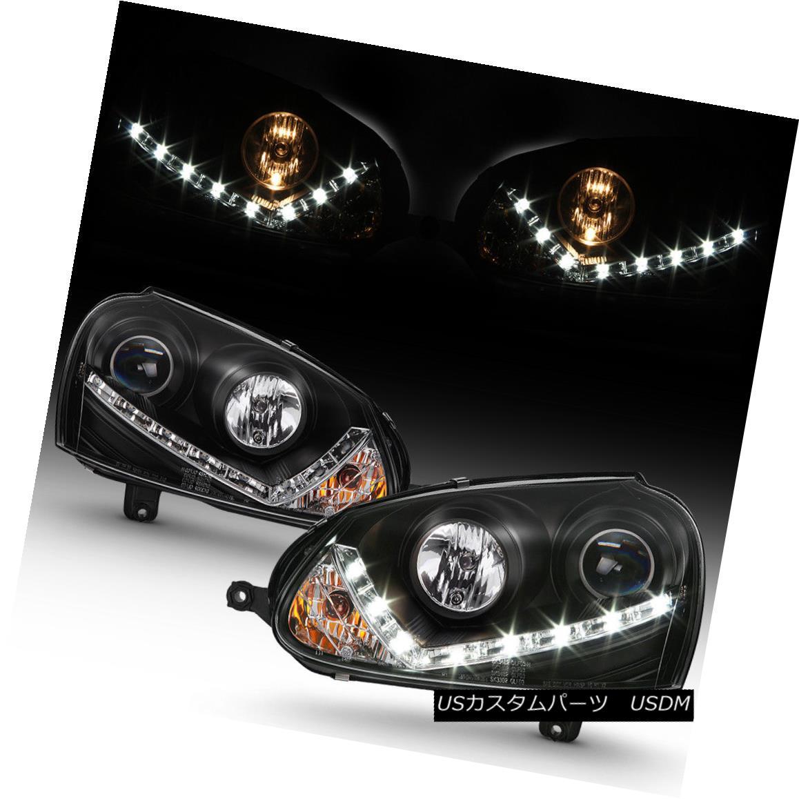 ヘッドライト Black 2006-2009 VW GTI Jetta Rabbit DRL LED Strip Projector Headlights 06-09 ブラック2006-2009 VW GTIジェッタラビットDRL LEDストリッププロジェクターヘッドライト06-09
