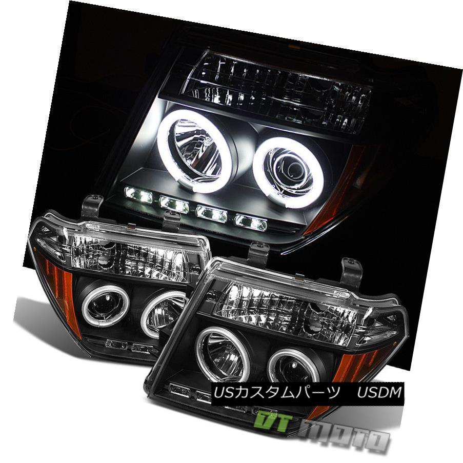ヘッドライト Black Fits 05-07 Frontier Pathfinder CCFL Halo Projector Headlights Lights Pair ブラックフィット05-07フロンティアパスファインダーCCFLハロープロジェクターヘッドライトライトペア