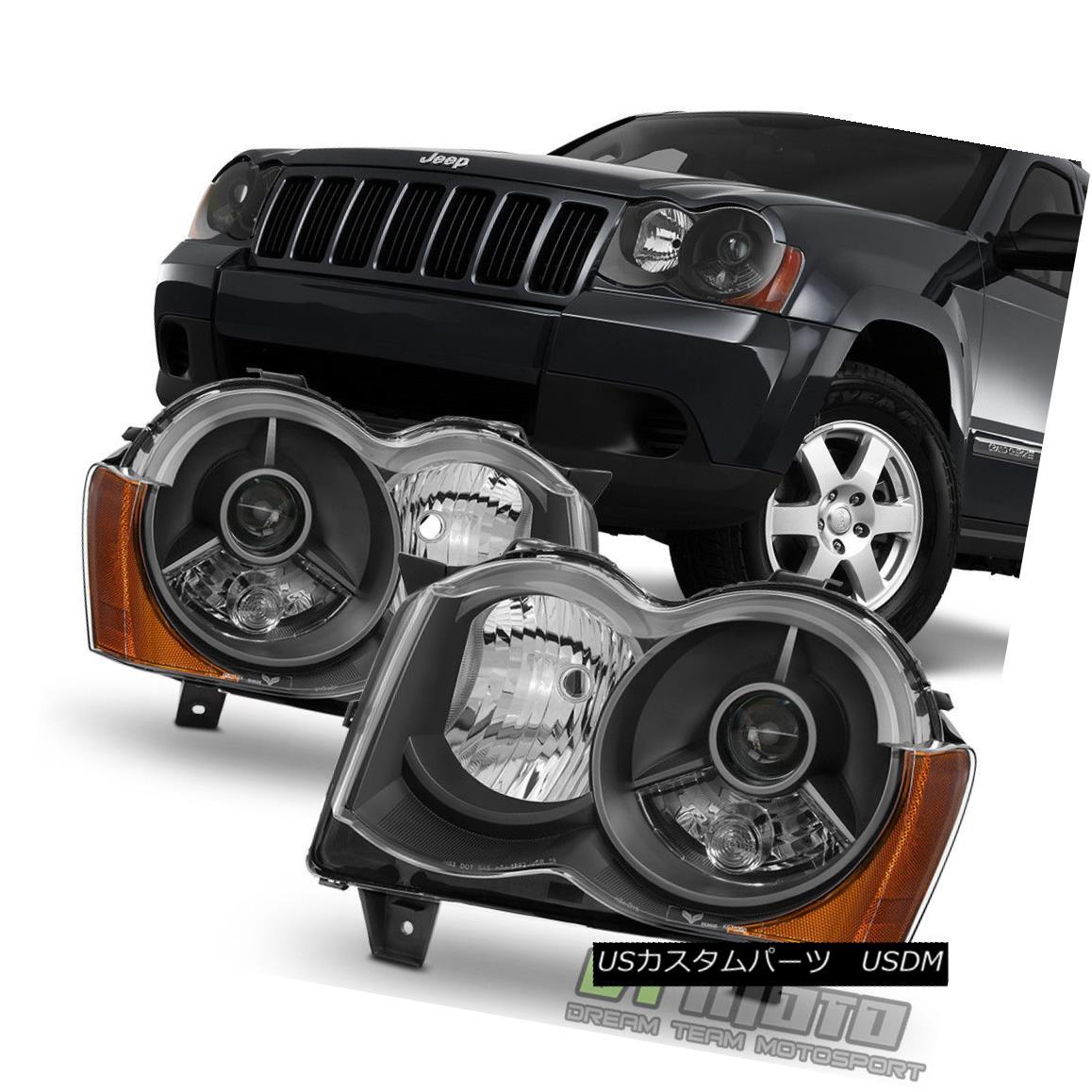 ヘッドライト Black 2008-2010 Jeep Grand Cherokee Projector Headlights 08-10 Halogen Fit only ブラック2008-2010ジープグランドチェロキープロジェクターヘッドライト08-10ハロゲンフィットのみ