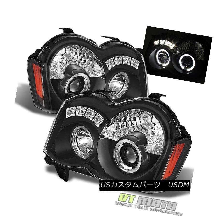 ヘッドライト Blk 2008-2010 Grand Cherokee LED Halo Projector Headlights w/ DRL Running Lights Blk 2008-2010 Grand Cherokee LED Haloプロジェクターヘッドライト(DRLランニングライト付)