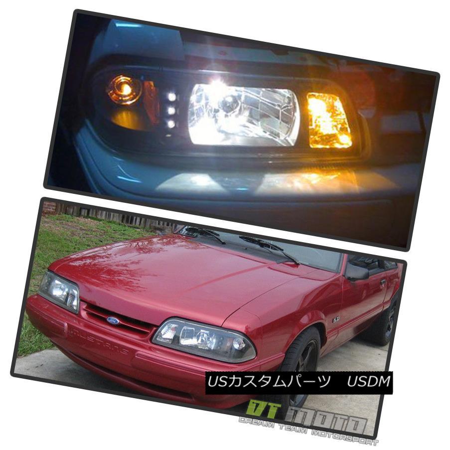 ヘッドライト 1987-1993 Mustang 6in1 LED 1PC Black Headlights w/Built In Corner/Parking Signal 1987-1993 Mustang 6in1 LED 1PCブラックヘッドライト(コーナー/駐車信号あり)