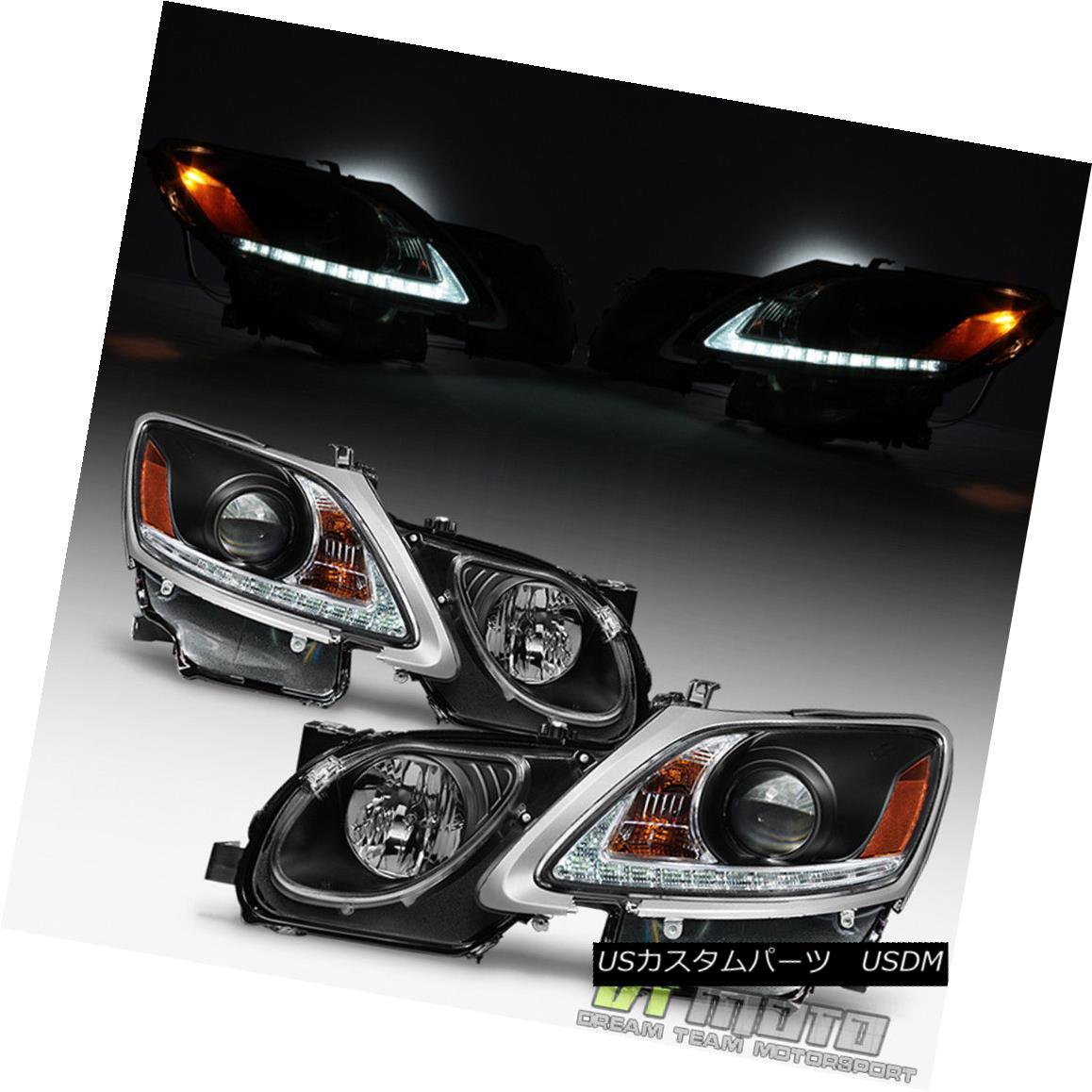 ヘッドライト Black 2006-2011 Lexus GS300 GS350 HID Xenon LED Strip DRL Headlights Headlamps ブラック2006-2011レクサスGS300 GS350 HIDキセノンLEDストリップDRLヘッドライトヘッドランプ