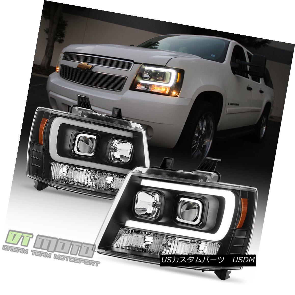 ヘッドライト Blk 2007-2014 Chevy Suburban Tahoe Avalanche OPTIC DRL LED Projector Headlights Blk 2007-2014シボレー郊外タホアバランシェOPTIC DRL LEDプロジェクターヘッドライト