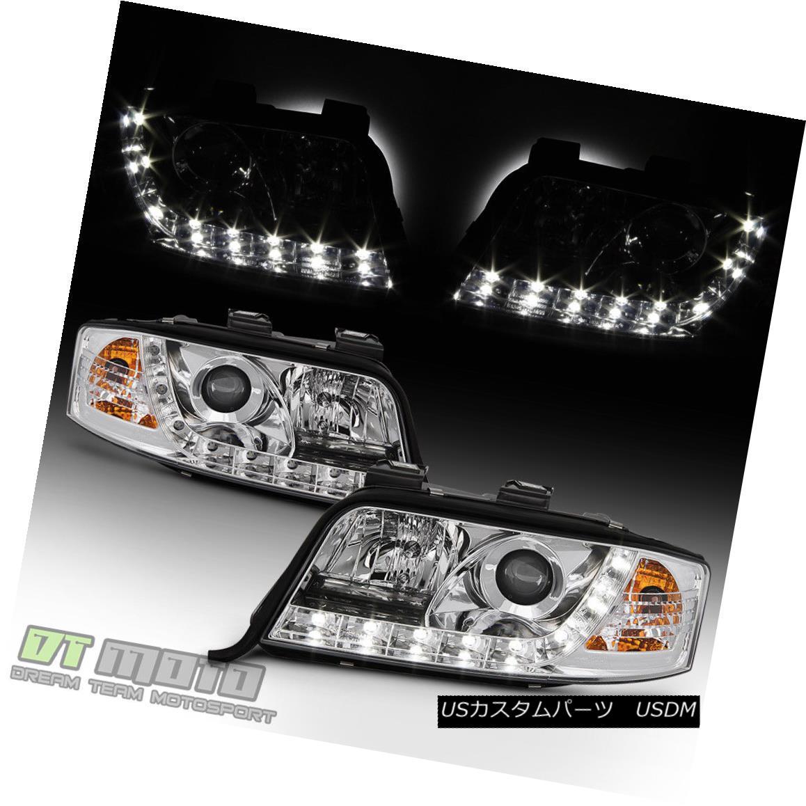 ヘッドライト 2002-2004 Audi A6 Projector Headlights w/ LED DRL Running Headlamps Left+Right 2002 - 2004年Audi A6プロジェクターヘッドライト(LED DRL搭載)ヘッドライトは左+右
