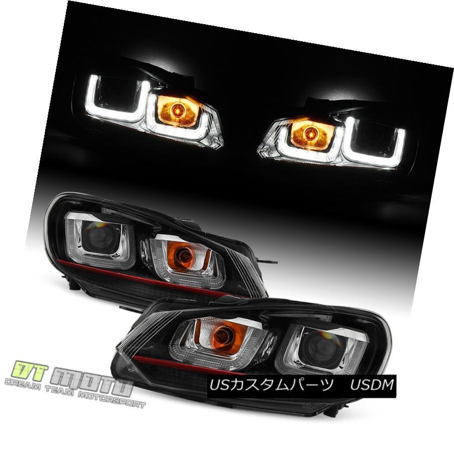 ヘッドライト 2010-2014 VW Golf/GTI Red Stripe Edition LED DRL Tube Projector Headlights 10-14 2010-2014 VWゴルフ/ GTIレッドストライプエディションLED DRLチューブプロジェクターヘッドライト10-14