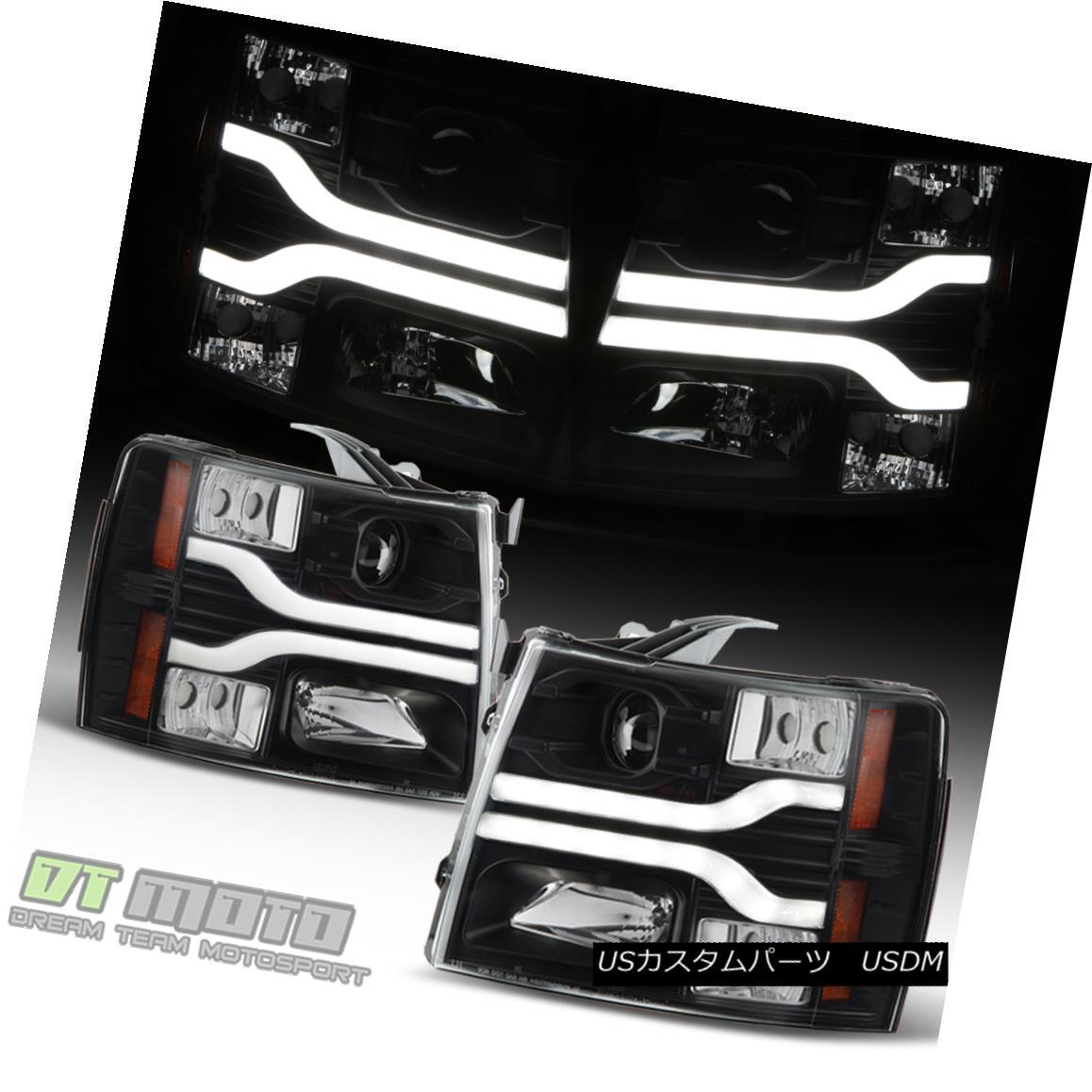ヘッドライト Black 2007-2013 Chevy Silverado 1500 LED DRL Tube Projector Headlights Headlamps ブラック2007-2013シボレーシルバラード1500 LED DRLチューブプロジェクターヘッドライトヘッドランプ