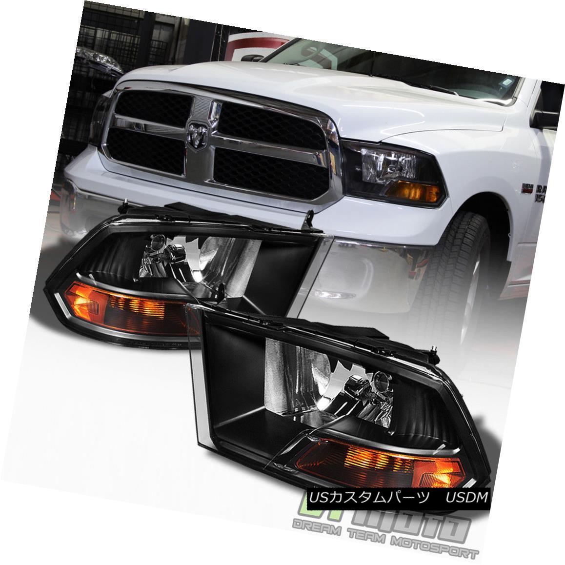 ヘッドライト 2009-2017 Dodge Ram Black Headlights Lamps Replacement Left+Right 09-17 Lights 2009-2017ダッジ・ラム・ブラックヘッドライト・ランプ交換用左/右09-17ライト