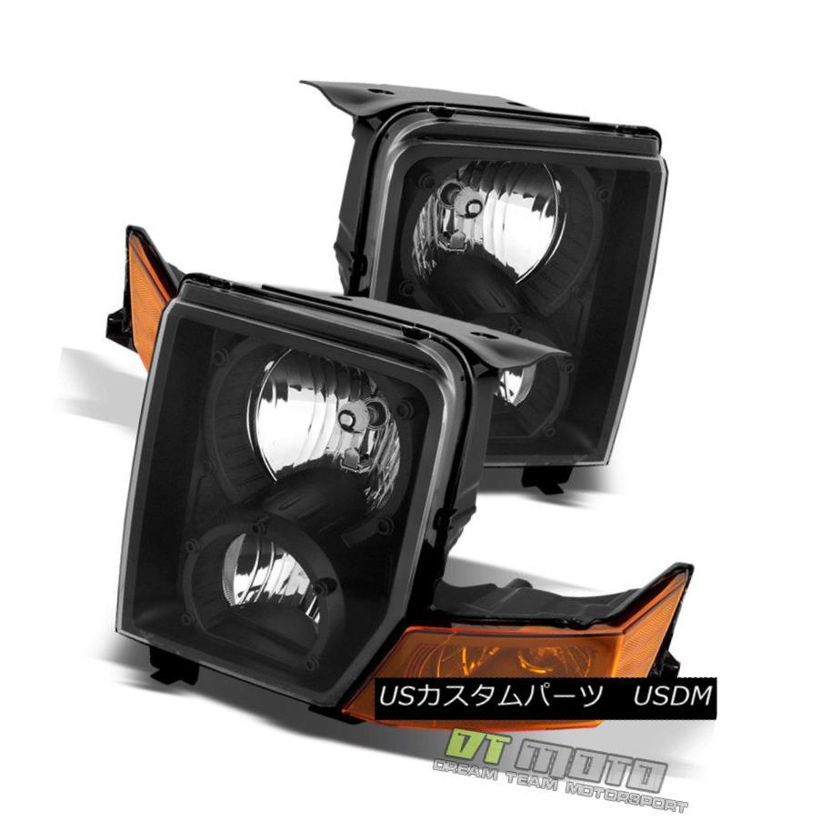 ヘッドライト 2006-2010 Jeep Commander Black Headlights Headlamps Replacement Left+Right 06-10 2006-2010ジープコマンダーブラックヘッドライトヘッドランプ交換左+右06-10