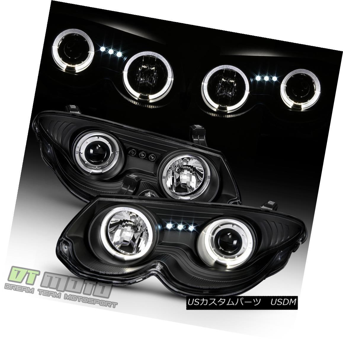 ヘッドライト 1999-2004 Chrysler 300M Halo Projector LED Black Headlights Headlamps Left+Right 1999-2004クライスラー300MハロープロジェクターLEDブラックヘッドライトヘッドランプ左+右