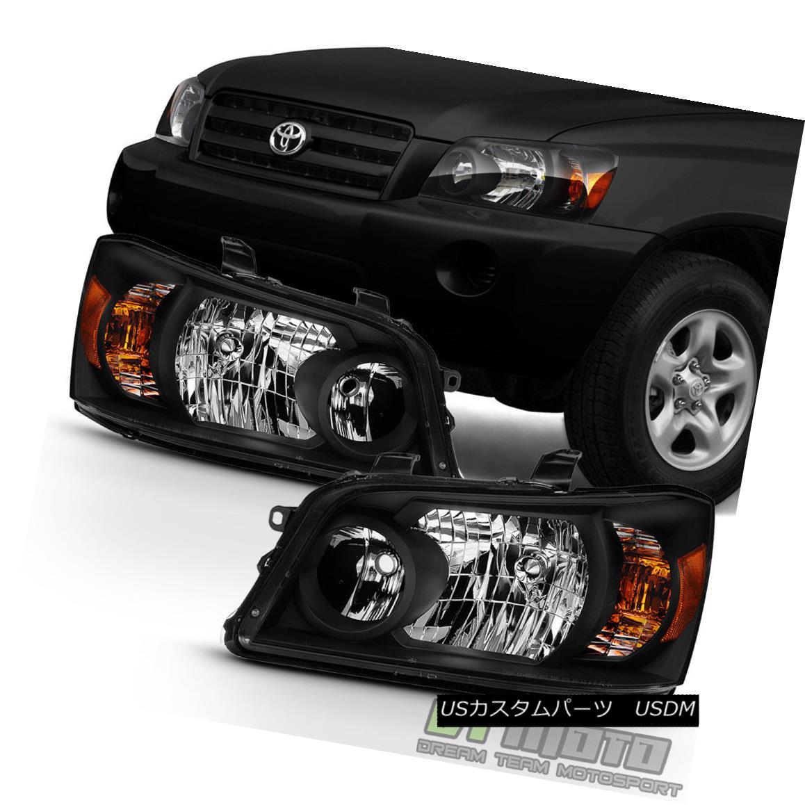 ヘッドライト [Black Housing] 2004 2005 2006 Toyota Highlander Headlights Headlamps Left+Right [ブラックハウジング] 2004 2005 2006トヨタハイランダーヘッドライトヘッドランプ左+右
