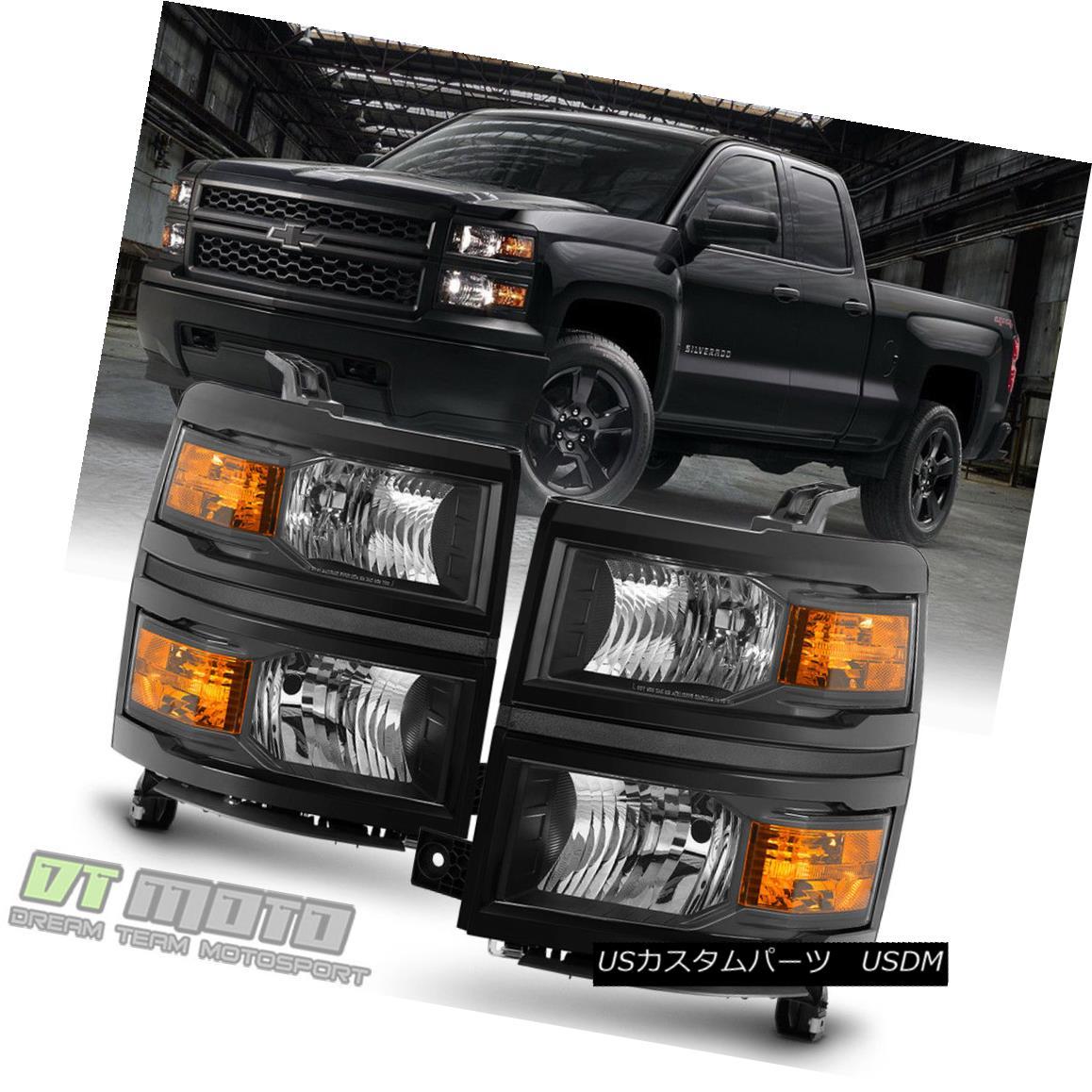 ヘッドライト Pair Black 2014-2015 Chevy Silverado 1500 Pickup Headlights Headlamps Left+Right ペアブラック2014-2015シボレーシルバラード1500ピックアップヘッドライトヘッドランプ左+右