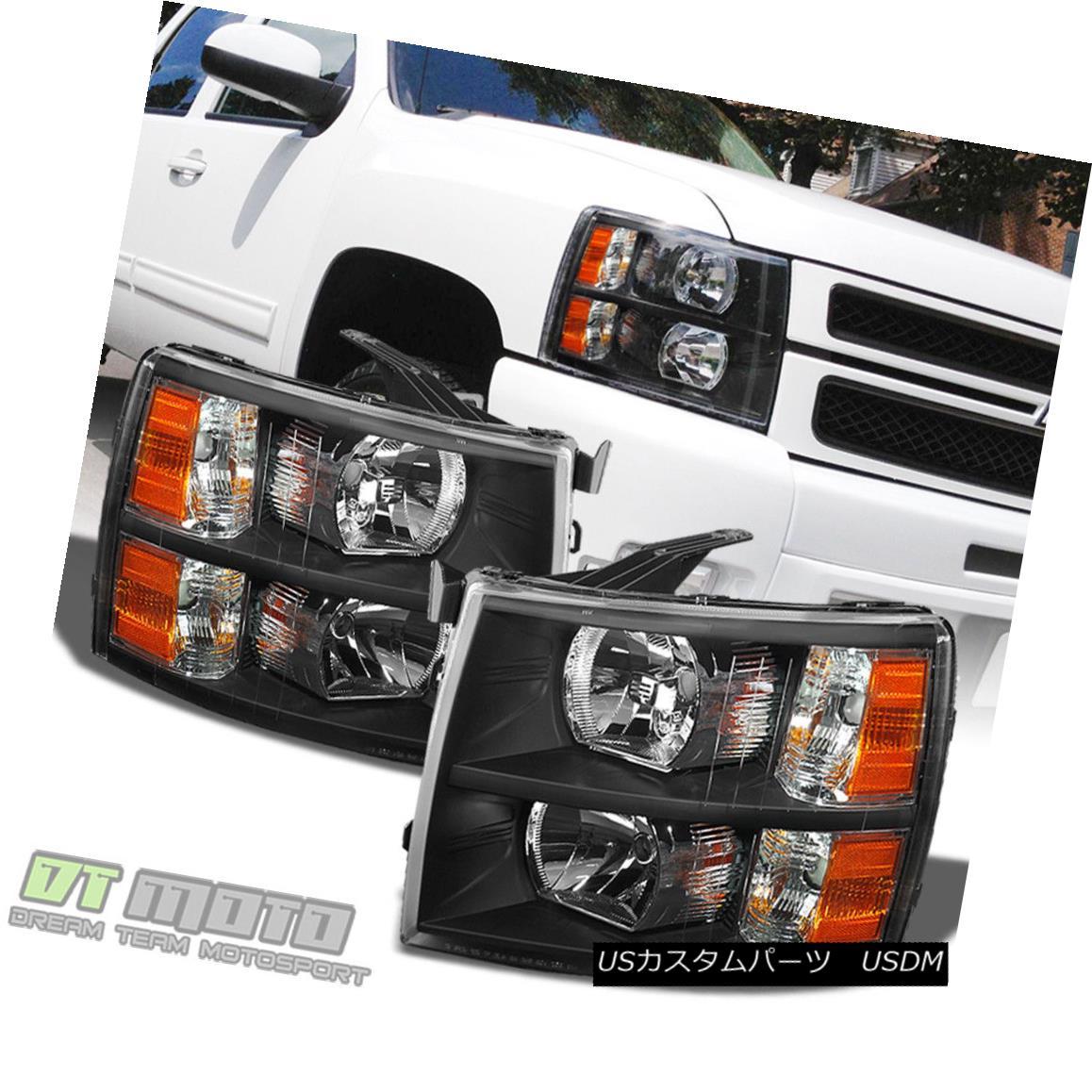 ヘッドライト Blk 2007-2014 Chevy Silverado 1500 2500HD Replacement Headlights Lamp Left+Right Blk 2007-2014 Chevy Silverado 1500 2500HD交換用ヘッドライトランプ左+右