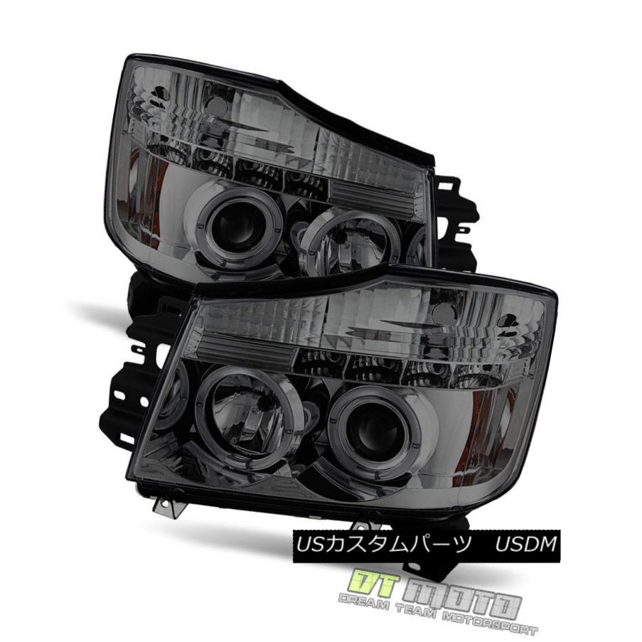 ヘッドライト Smoked Fit 2004-2015 Titan Armada Halo Projector Led Headlight Lights Left+Right スモークフィット2004-2015タイタンアルマダヘイロープロジェクターライトヘッドライトライト左+右