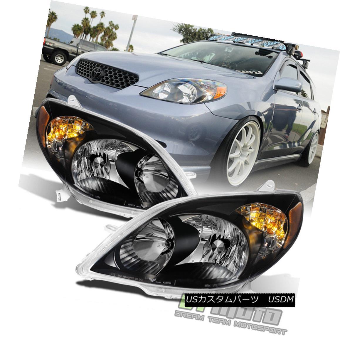 ヘッドライト Black 2003-2008 Toyota Matrix Headlights Healamps Replacement 03-08 Left+Right 黒2003-2008トヨタマトリックスヘッドライトヒーラーアンプ交換03-08左+右