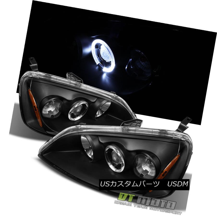 ヘッドライト For Black 2001-2003 Honda Civic 2/4Dr Dual Halo Projector Headlights Left+Right ブラック2001-2003用ホンダシビック2 / 4Drデュアルハロープロジェクターヘッドライト左+右