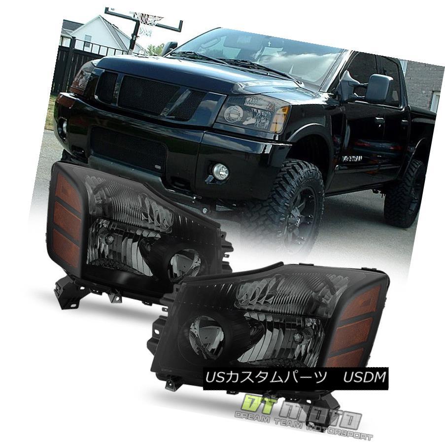 ヘッドライト Black Smoked 2004-2015 Titan 04-07 Armada Headlights Headlamps Set Left+Right ブラックスモーク2004-2015タイタン04-07アルマダヘッドライトヘッドランプセット左+右