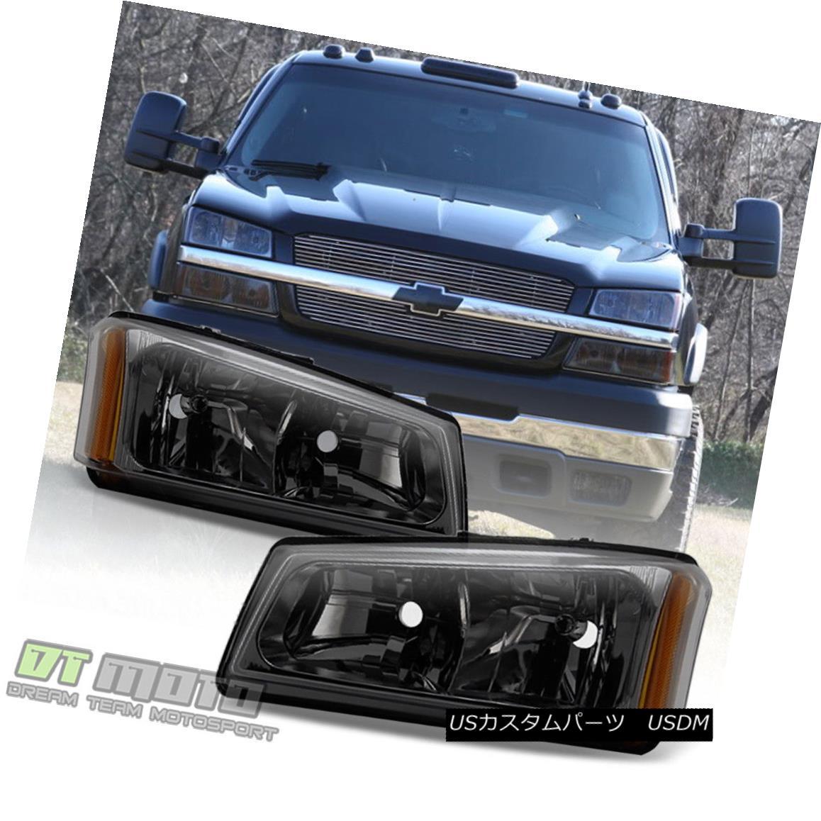 ヘッドライト Smoke 2003-2006 Chevy Silverado 1500 Avalanche Headlights Headlamps Left+Right スモーク2003-2006シボレーシルバラード1500アバランシェヘッドライトヘッドランプ左+右
