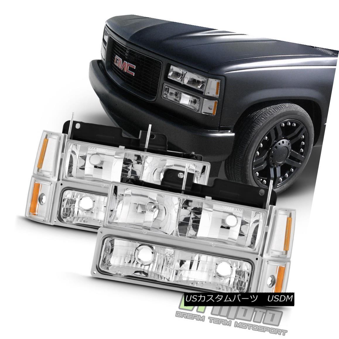 ヘッドライト 1994-1998 GMC C/K Sierra Yukon Suburban Headlights+Bumper Lights+Corner Lamps 1994-1998 GMC C / K Sierra Yukon郊外のヘッドライト+ブライト 、ライト+コーナーランプ