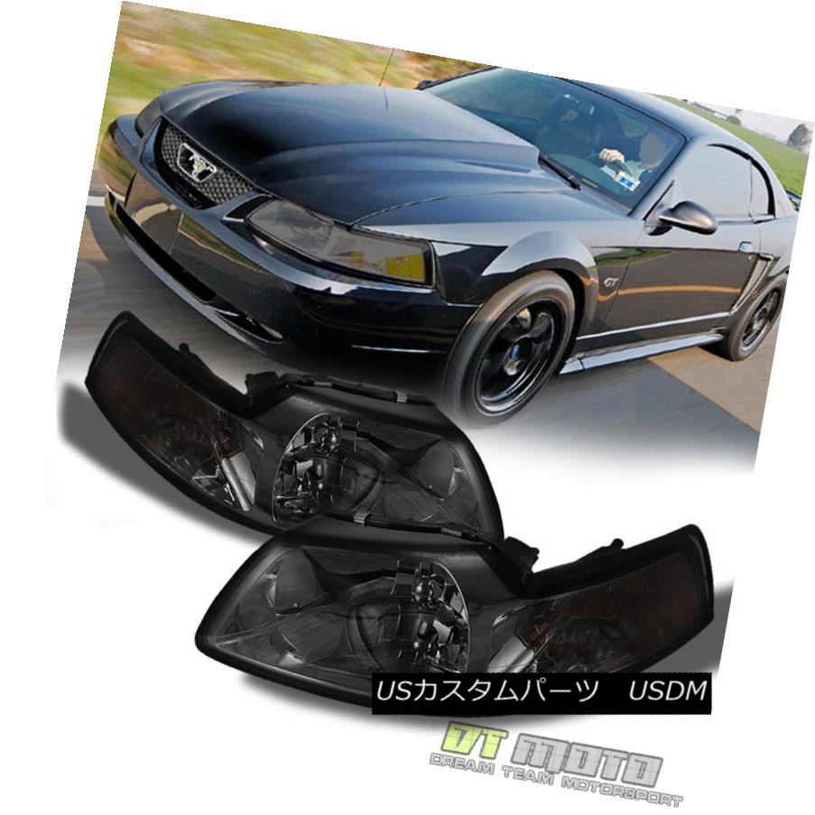 ヘッドライト Smoke 1999-2004 Ford Mustang Headlights Replacement Headlamps Left+Right 99-04 スモーク1999-2004フォードマスタングヘッドライト交換ヘッドランプ左+右99-04