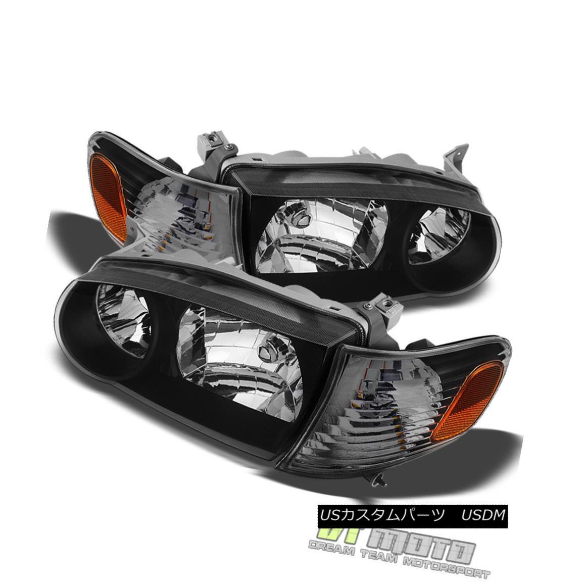 ヘッドライト Black 01-02 Toyota Corolla Headlights +Corner Signal Lamps Left+Right 2001-2002 黒01-02トヨタカローラヘッドライト+コーナー信号ランプ左+右2001-2002