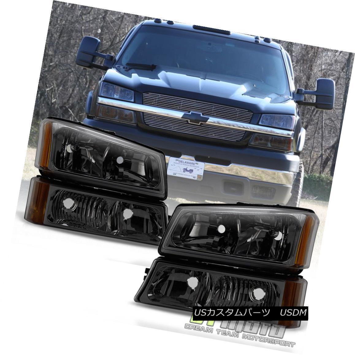 ヘッドライト Smoked 2003-2006 Chevy Silverado Headlights + Bumper Signal Lamps 03 04 05 06 スモーク2003-2006シボレーシルバラードヘッドライト+バンパーシグナルランプ03 04 05 06