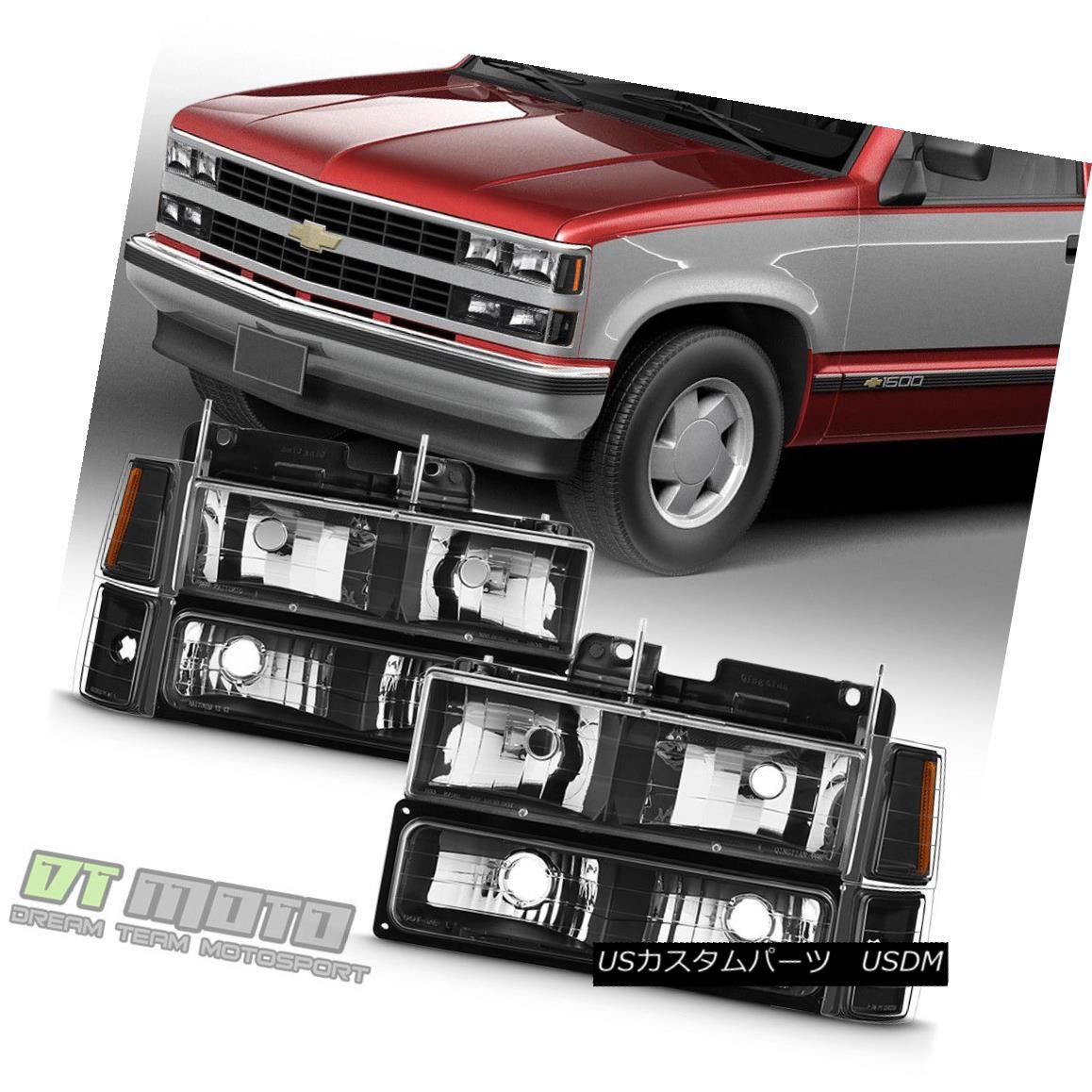 ヘッドライト Black 1994-1998 Chevy Silverado C10 C/K Tahoe Suburban Headlights +Corner+Bumper ブラック1994-1998シボレーシルバラードC10 C / Kタホ郊外ヘッドライト+コーナー+バンパー