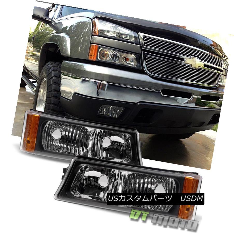 ヘッドライト Black 2003-2006 Chevy Silverado Bumper Corner Signal Parking Lights Lamps Set ブラック2003-2006シボレーシルバラードバンパーコーナー信号パーキングライトランプセット
