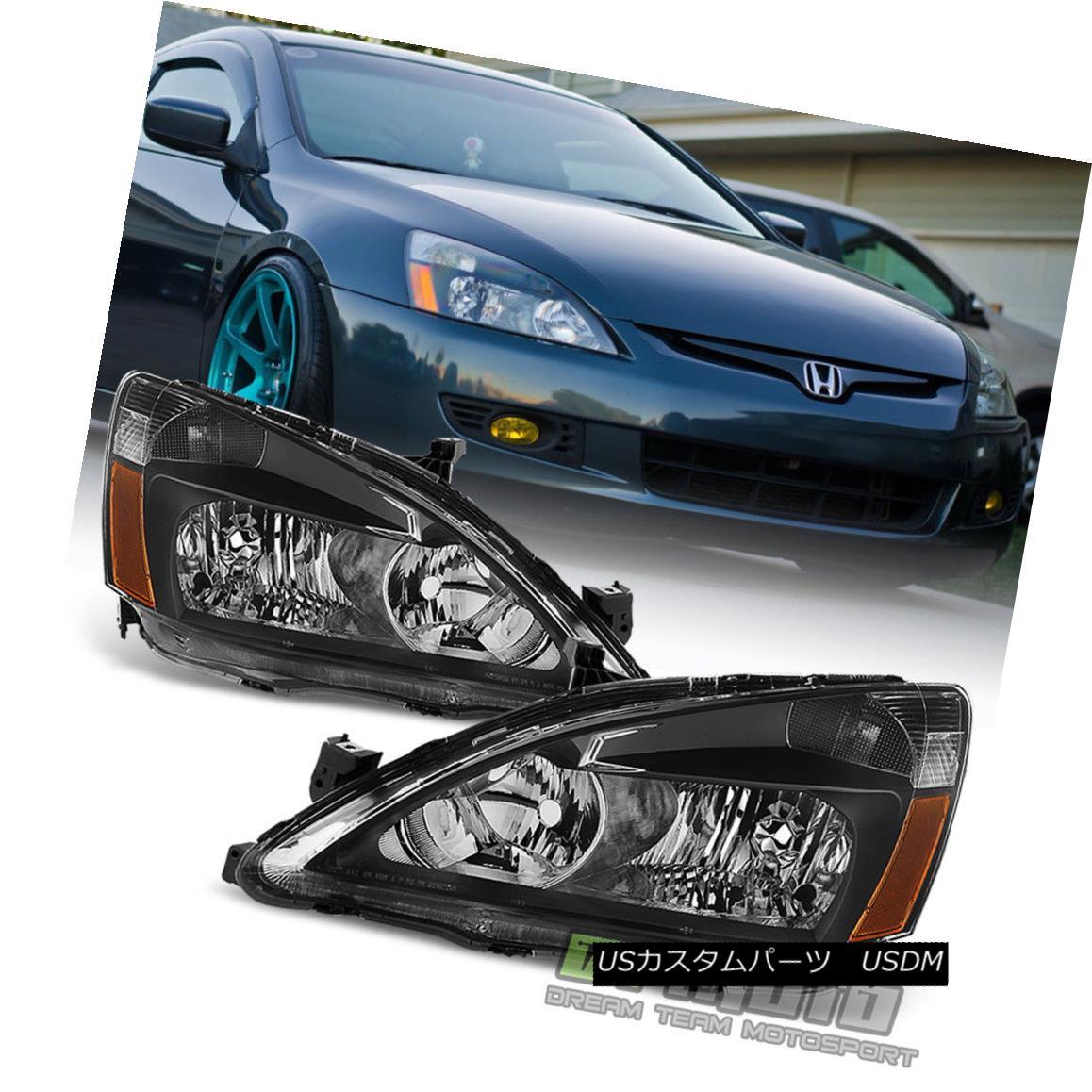 ヘッドライト For Black 2003-2007 Honda Accord 2Dr 4Dr Crystal Headlights Headlamps Left+Right ブラック2003-2007ホンダアコード2Dr 4Drクリスタルヘッドライトヘッドランプ左+右