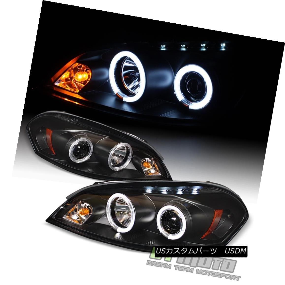 ヘッドライト Black 2006-2013 Chevy Impala LED Halo Projector Headlights Headlamps Left+Right 黒2006-2013シボレーインパラLEDハロープロジェクターヘッドライトヘッドランプ左+右