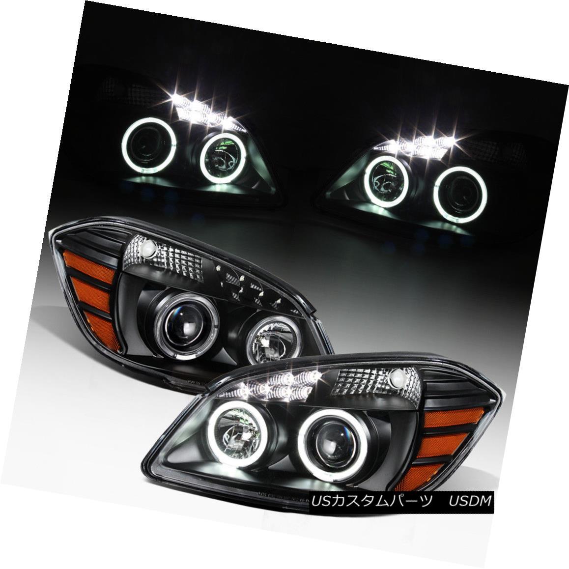 ヘッドライト Black 2005-2010 Chevy Cobalt 07-10 Pontiac G5 LED DRL Halo Projector Headlights ブラック2005-2010シボレーコバルト07-10ポンティアックG5 LED DRLハロープロジェクターヘッドライト