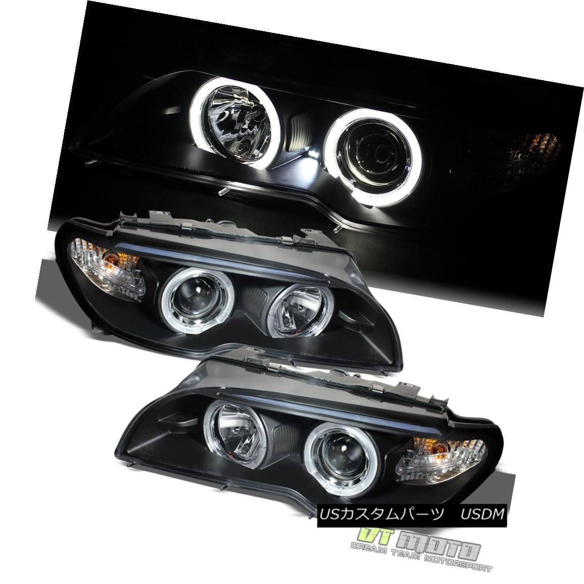ヘッドライト Black 2004-2006 BMW E46 3-Series Coupe LED Halo Projector Headlights w/ Corner ブラック2004-2006 BMW E46 3シリーズクーペLEDハロープロジェクターヘッドライト(コーナー付)