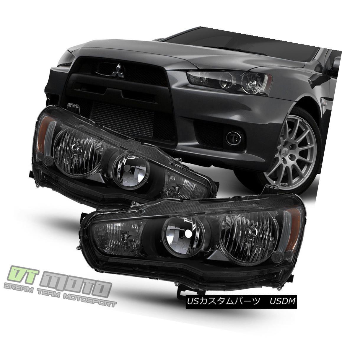 ヘッドライト Black Smoke 2008-2017 Lancer 08-15 Evolution EVO X Halogen Headlights Headlamps ブラックスモーク2008-2017ランサー08-15 Evolution EVO Xハロゲンヘッドライトヘッドランプ