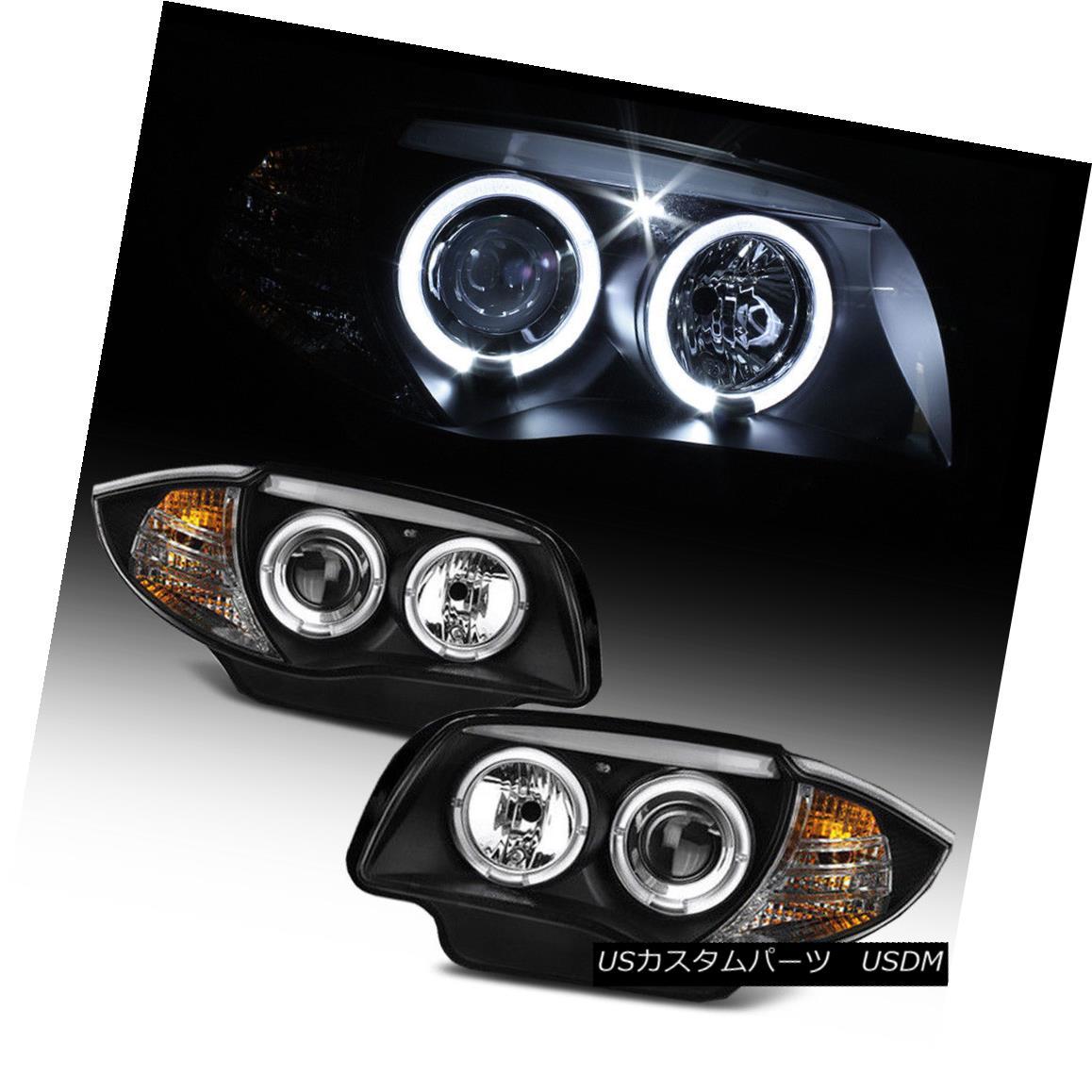ヘッドライト For Halogen Model 2008-2013 BMW E87 128i 135i Blk LED Halo Projector Headlights ハロゲンモデル2008-2013用BMW E87 128i 135i Blk LEDハロープロジェクターヘッドライト