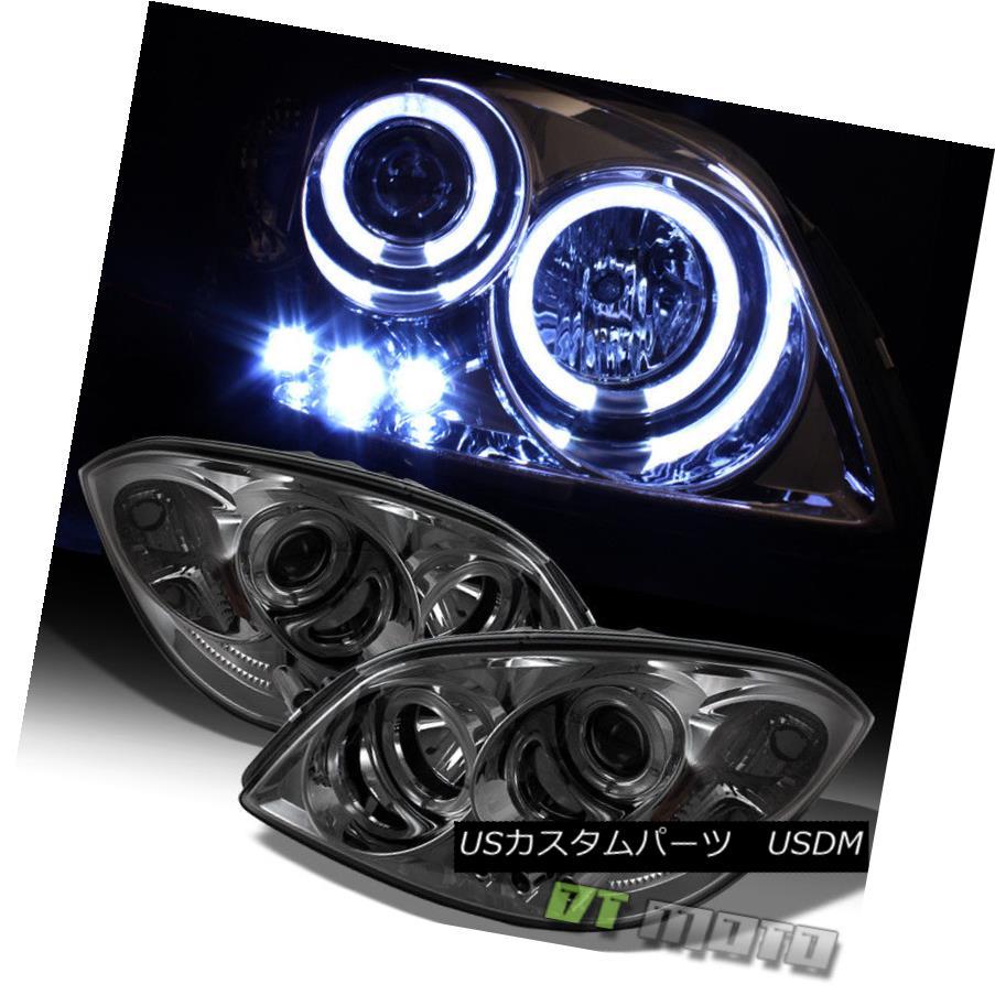 ヘッドライト Smoked 05-10 Chevy Cobalt Pontiac G5 Halo Projector Led Headlights Left+Right スモーク05-10シボレーコバルトポンティアックG5ハロープロジェクターはヘッドライトを左+右