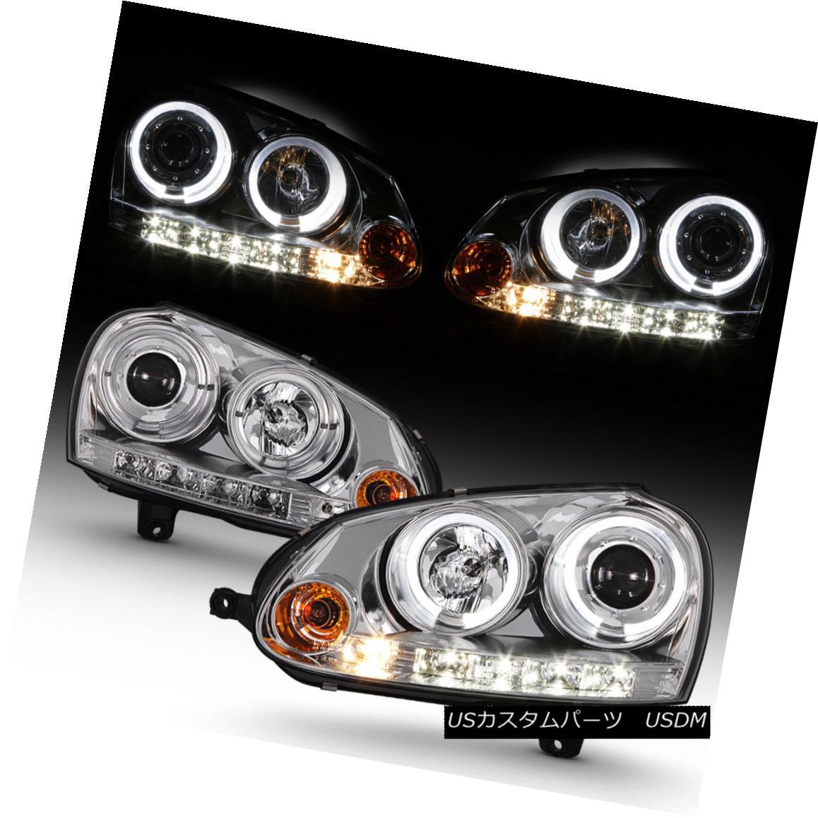 ヘッドライト 2006-2009 VW GTi Jetta Rabbit Halo Projector Headlights w/DRL LED Running Lights 2006-2009 VW GTiジェッタラビットハロープロジェクターヘッドライト(DRL LEDランニングライト付き)