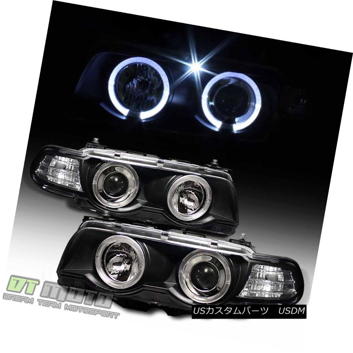 ヘッドライト Black 1999-2001 BMW E38 7-Series LED Halo Projector Headlights HID Version Only ブラック1999-2001 BMW E38 7シリーズLEDハロープロジェクターヘッドライトHIDバージョンのみ