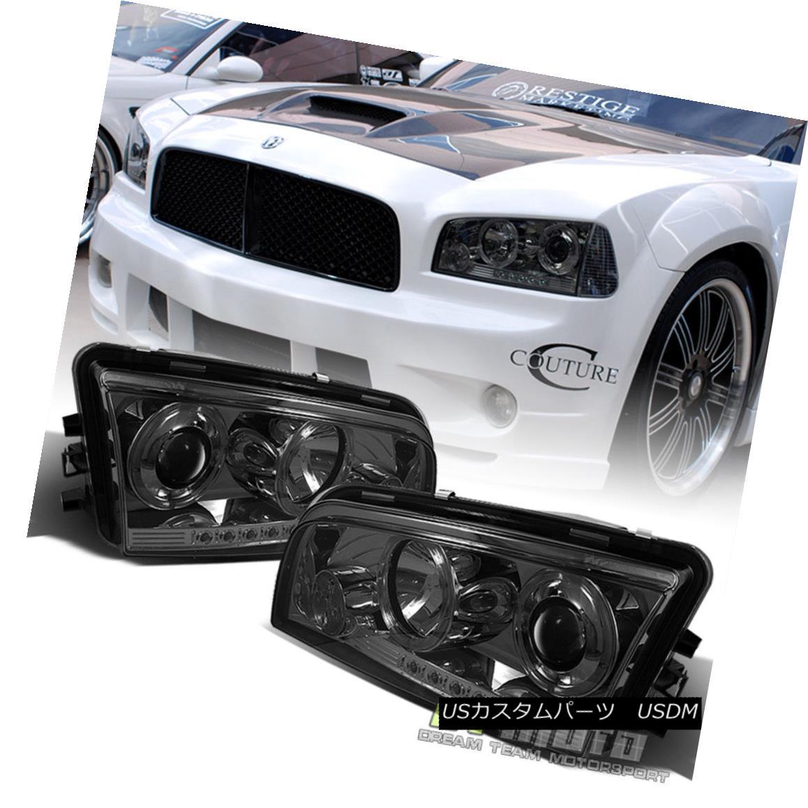 ヘッドライト Smoke 2006-2010 Dodge Charger Dual Halo Projector Led Headlights Lamp Left+Right 煙2006-2010ダッジ充電器デュアルヘイロープロジェクターは、ヘッドライトランプ左+右
