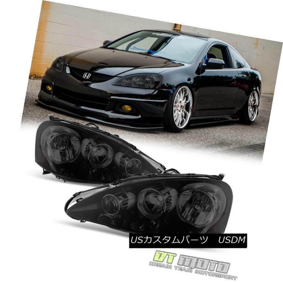 ヘッドライト Black Smoked 2005-2006 Acura RSX Headlights Lamps Left+Right Replacement 05-06 ブラックスモーク2005-2006アキュラRSXヘッドライトランプ左+右置き換え05-06