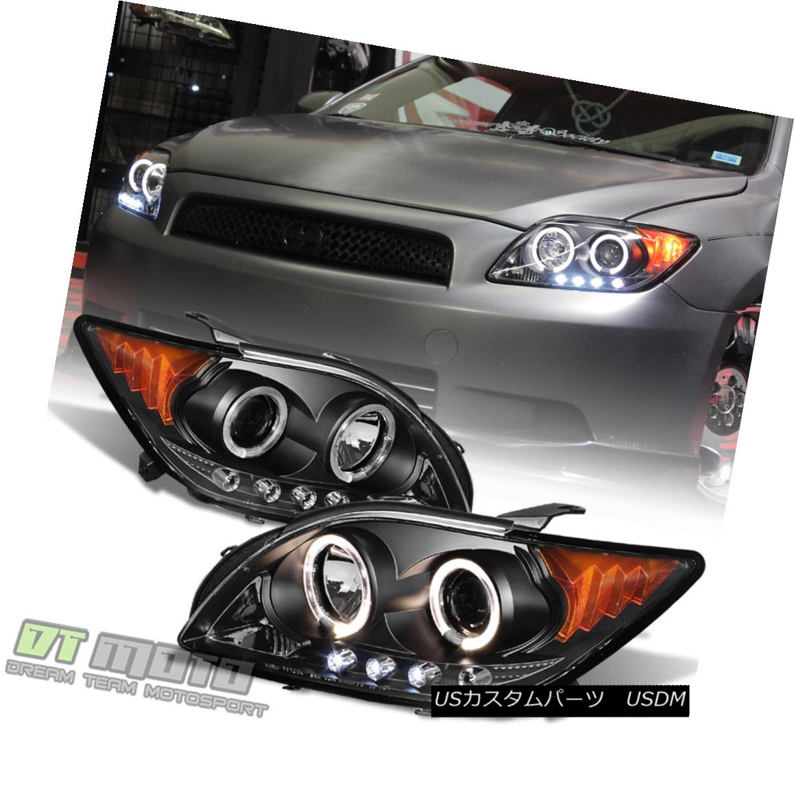 ヘッドライト Black 2005 2006 2007 Scion tC LED Halo Projector Headlights Headlamps Left+Right Black 2005 2006 2007 Scion tC LED HaloプロジェクターヘッドライトヘッドランプLeft + Right