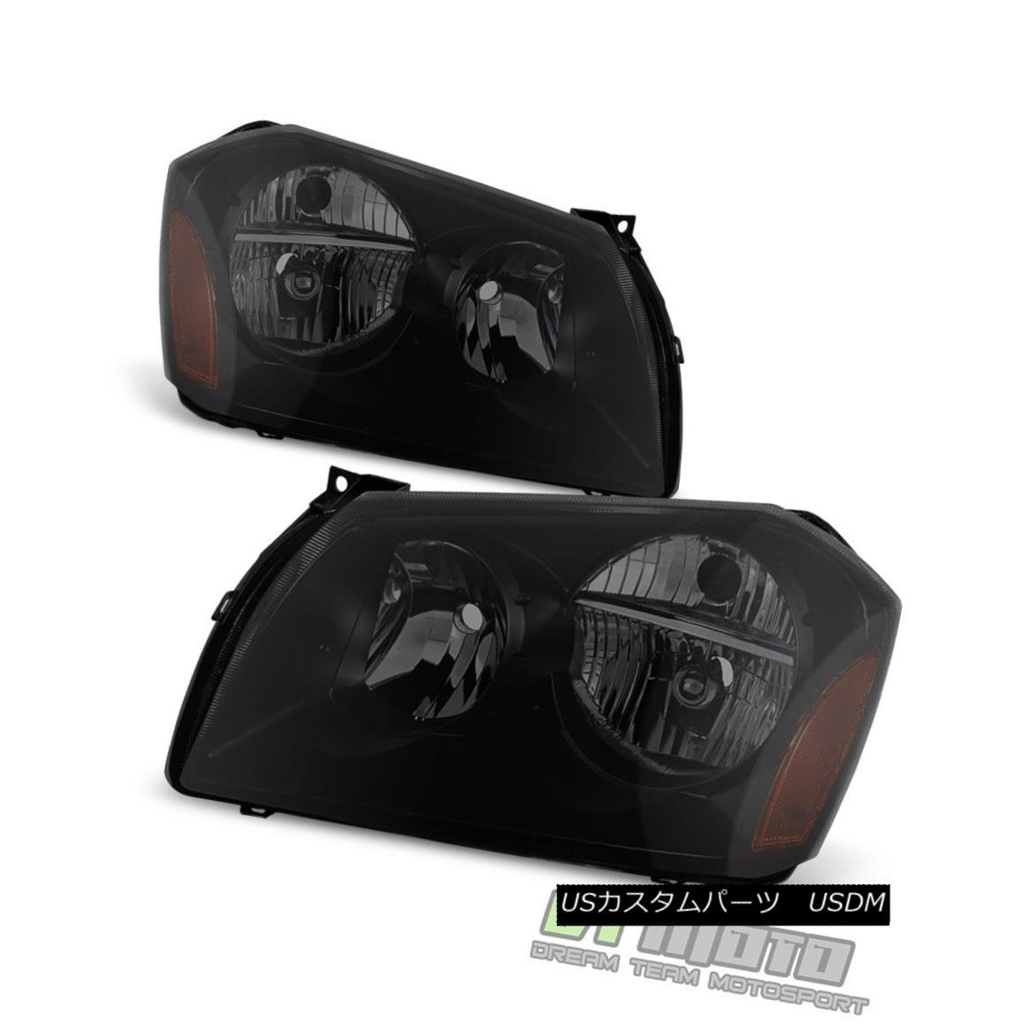ヘッドライト Black Smoke 2005-2007 Dodge Magnum SE SRT SXT RT Headlights Headlamps Left+Right ブラックスモーク2005-2007ドッジマグナムSE SRT SXT RTヘッドライトヘッドランプ左+右