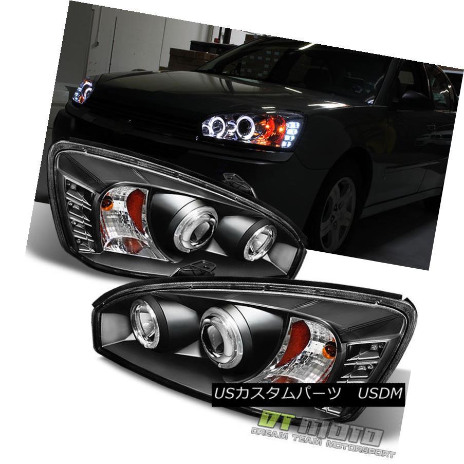 ヘッドライト Black 2004 2005 2006 2007 Chevy Malibu LED Halo Projector Headlights Headlamps ブラック2004 2005 2006 2007シボレーマリブLEDハロープロジェクターヘッドライトヘッドランプ