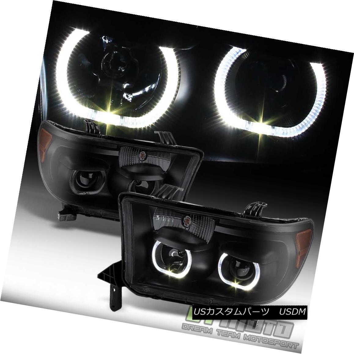 ヘッドライト Black Smoked 2007-2013 Toyota Tundra 08-17 Sequoia LED Halo Projector Headlights ブラックスモーク2007-2013トヨタトンドラ08-17セコイアLEDハロープロジェクターヘッドライト