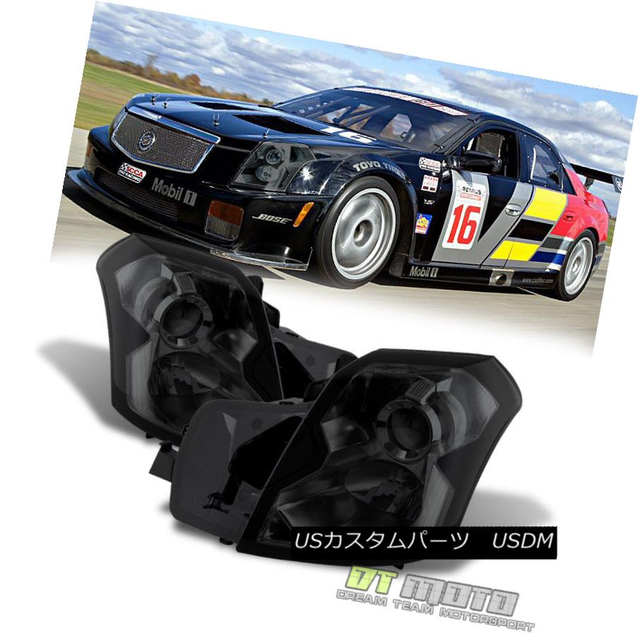 ヘッドライト Smoked 2003-2007 Cadillac CTS Headlights Headlamps Left+Right Set 03 04 05 06 07 スモーク2003-2007キャデラックCTSヘッドライトヘッドランプ左+右セット03 04 05 06 07