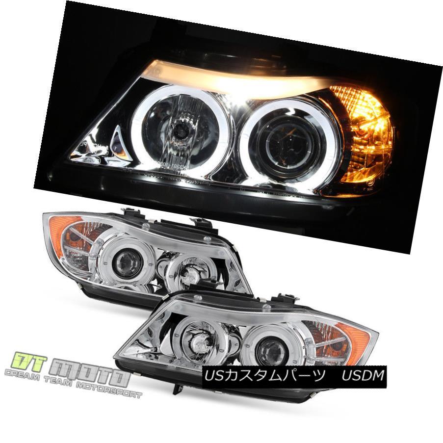 ヘッドライト 2006 2007 2008 BMW E90 3-Series Sedan Halo Projector Headlights w/ LED Eye LID 2006年のLEDヘッドライトを搭載したBMW E90 3シリーズセダンハロープロジェクターヘッドライト