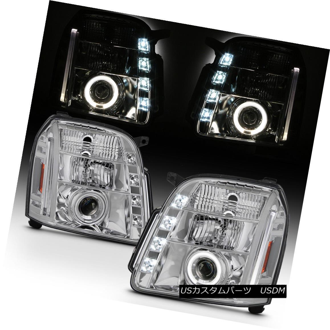 ヘッドライト 2007-2013 GMC Yukon Denali LED Running DRL Halo Projector Headlights Headlamps 2007年?2013年GMCユーコンデナリLED DRLハロープロジェクターヘッドライトヘッドランプ